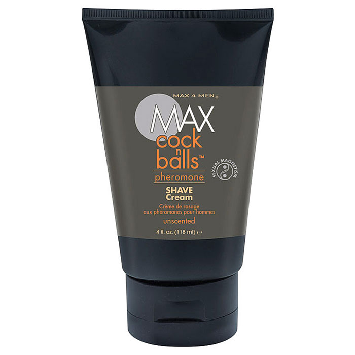 Max 4 Men Max Cock N Balls Shave Cream with Pheromone, Unscented, 4 oz, Classic Erotica