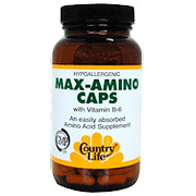 Max-Amino (Blend Of 18 Amino Acids) 180 Vegicaps, Country Life