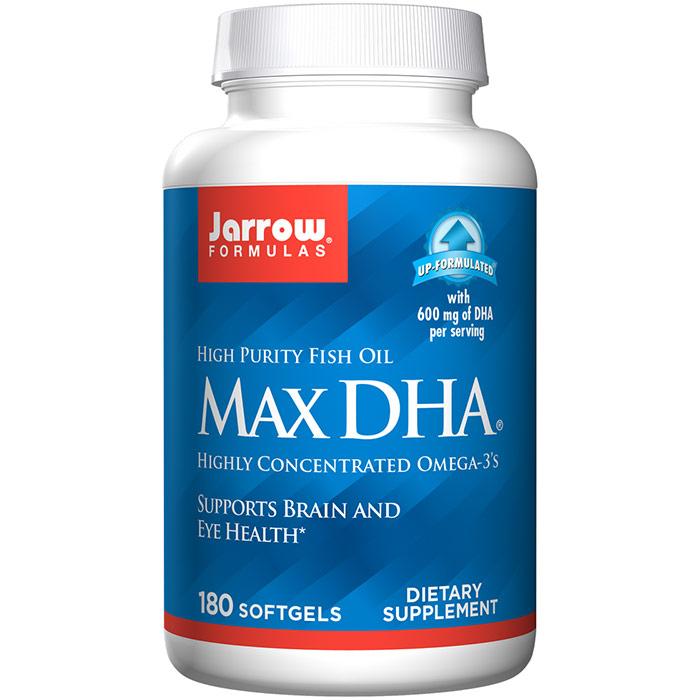 Max DHA, Fish Oil with Gamma Tocopherol 180 softgels, Jarrow Formulas