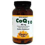 Maxi-Sorb CoQ10 30 mg Q-Gel 50 Softgels, Country Life