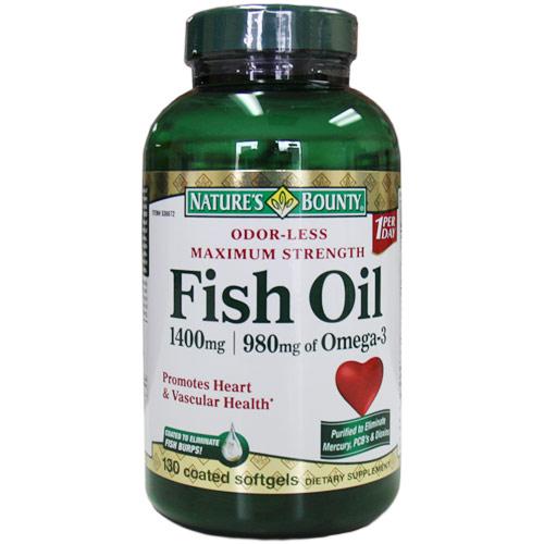 Maximum Strength Odorless Fish Oil 1400 mg, 980 mg Omega-3, 130 Coated Softgels, Natures Bounty