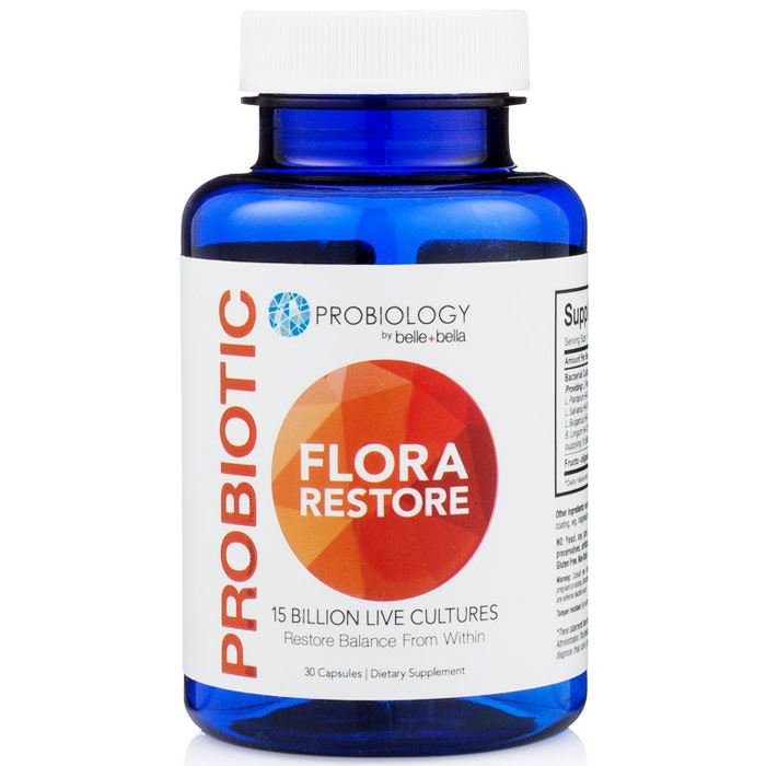 Belle+Bella Probiology Probiotic Flora Restore, 30 Capsules