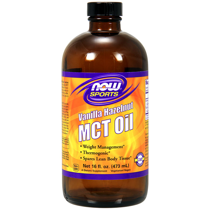 MCT Oil Liquid - Vanilla Hazelnut, 16 oz, NOW Foods