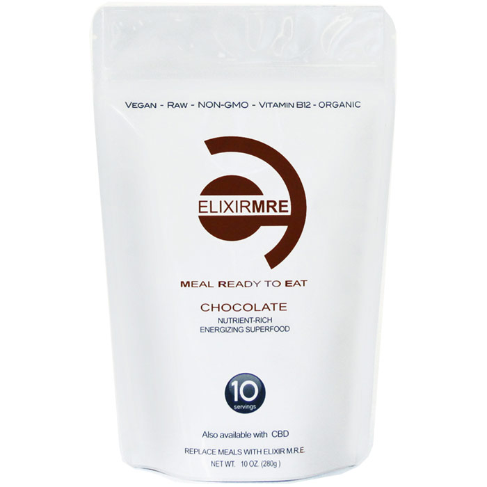 Meal Replacement Raw Hemp Protein Greens Superfood, Chocolate, 10 oz (280 g), Elixir MRE