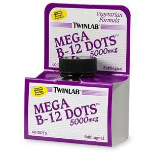 Mega B-12 Dots, Vegetarian Vitamin B-12 5000mcg 60 dots from Twinlab