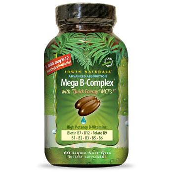 Mega B-Complex with Quick Energy MCTs, 60 Liquid Softgels, Irwin Naturals