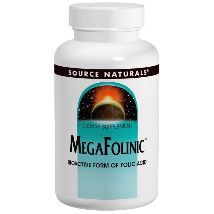 Mega-Folinic Folic Acid, MegaFolinic Replaces Metafolin, 60 tabs from Source Naturals