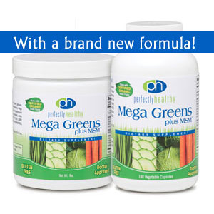 Image of Perfectly Healthy Mega Greens plus MSM Capsules, 180 Vegi Capsules, PerfectlyHealthy