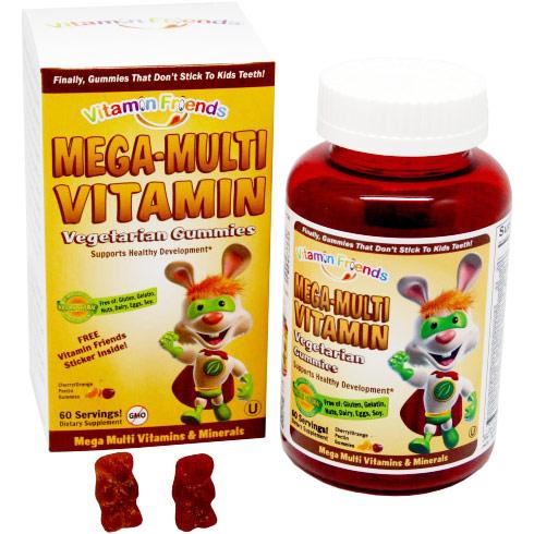 Mega-Multi Vitamin Cherry/Orange Pectin Gummies for Children, 60 Vegetarian Gummies, Vitamin Friends