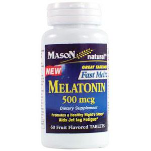 Melatonin 500 mcg Fast Meltz Fruit Flavored Tablets, 60 Tablets, Mason Natural
