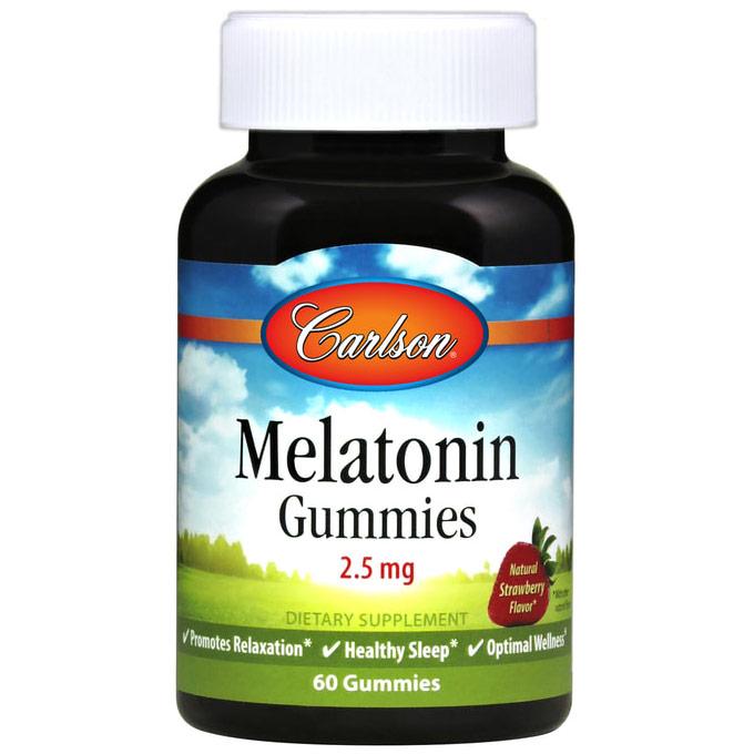 Melatonin Gummies 2.5 mg Chewable - Natural Strawberry Flavor, 60 Gummies, Carlson Labs