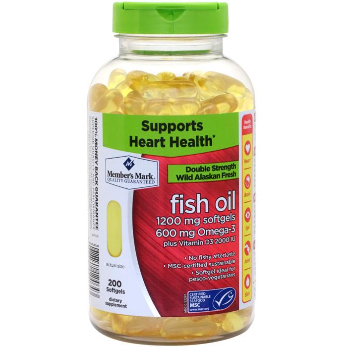 Double Strength Wild Alaskan Fresh Fish Oil 1200 mg, 200 Softgels, Members Mark