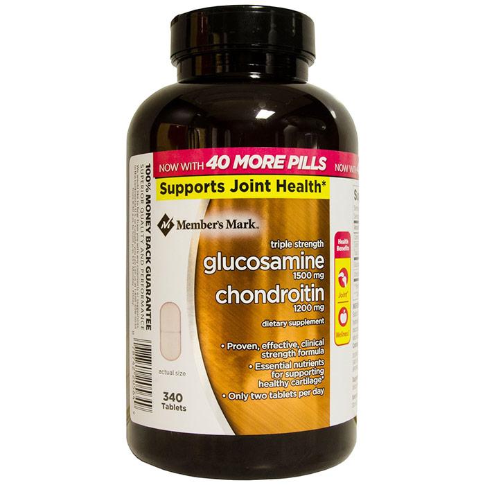 Members Mark Triple Strength Glucosamine 1500 mg & Chondroitin 1200 mg, 340 Tablets