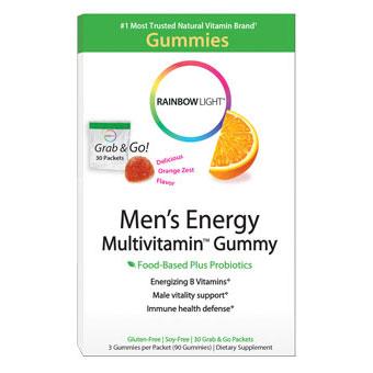Mens Energy Multivitamin Gummy, 30 Packets (90 Gummies), Rainbow Light