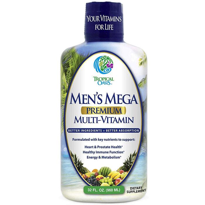 Mens Mega Multi-Vitamin Liquid, 32 oz, Tropical Oasis