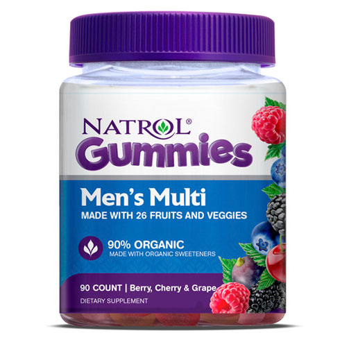 Mens Multi Gummies, Chewable Multi-Vitamins & Minerals, 90 Gummies, Natrol