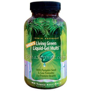 Mens Living Green Liquid-Gel Multi Vitamins, 90 Liquid Soft-Gels, Irwin Naturals