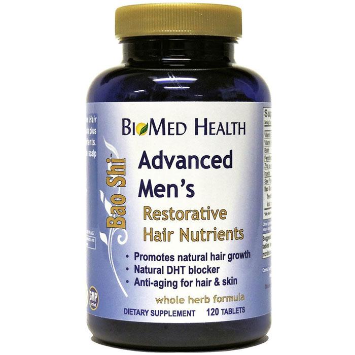 Advanced Mens Bao Shi Restorative Hair Nutrients, 120 Capsules, BioMed Health