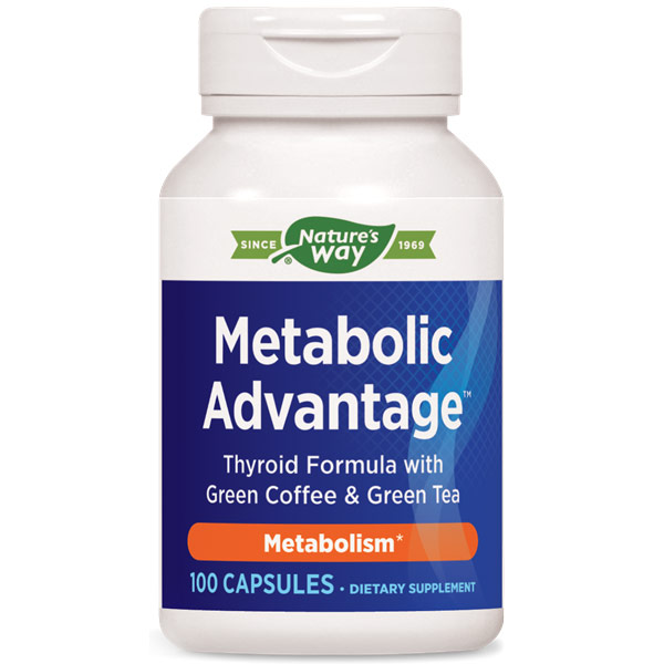 Metabolic Advantage, Thyroid Formula with Green Coffee & Green Tea, 100 Capsules, Enzymatic Therapy