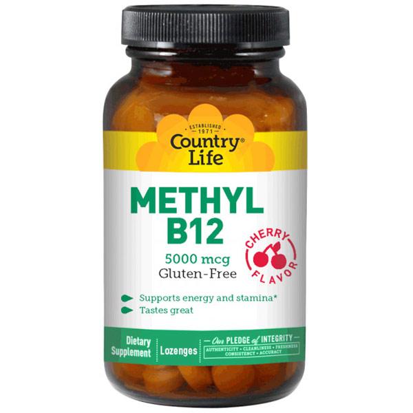 Methyl B12 5000 mcg, Cherry Flavor, 60 Lozenges, Country Life
