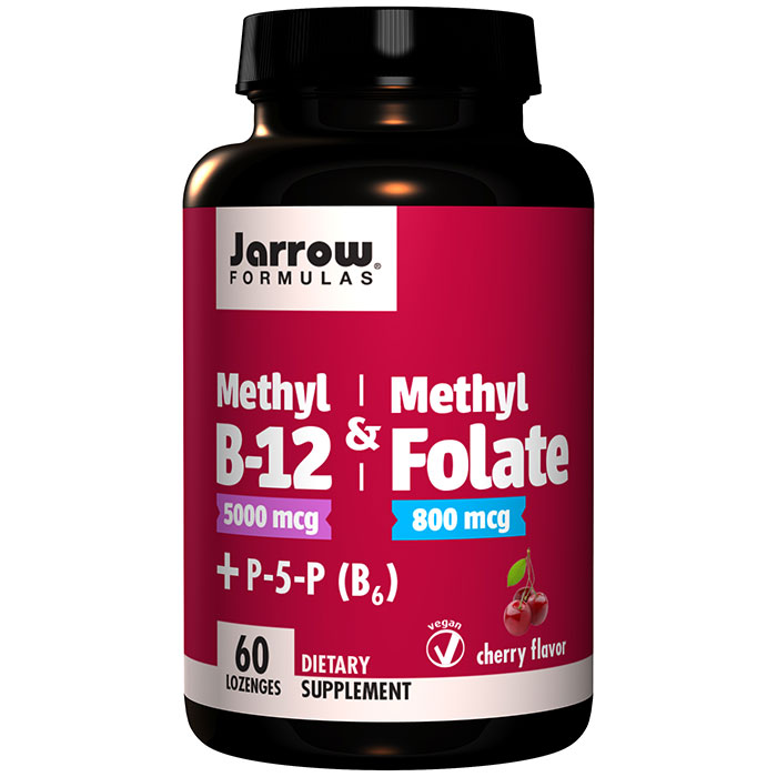 Methyl B-12 & Methyl Folate, 5000 / 800 mcg - Cherry, 60 Lozenges, Jarrow Formulas