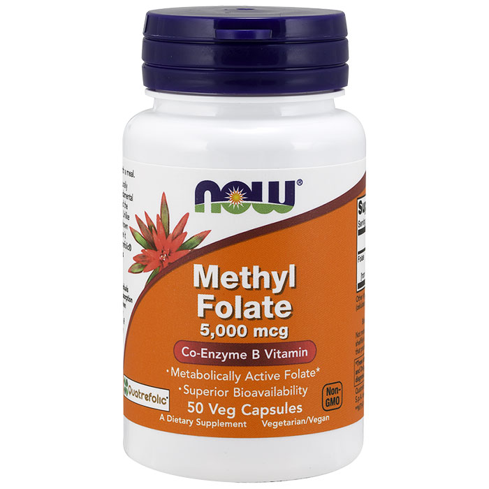 Methyl Folate 5000 mcg, 50 Vegetarian Capsules, NOW Foods