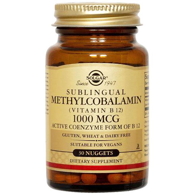 Methylcobalamin (Vitamin B12) 1000 mcg Sublingual, 30 Nuggets, Solgar