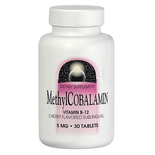 Methylcobalamin Vitamin B12 (Vitamin B-12) Sublingual Cherry 5mg 30 tabs from Source Naturals