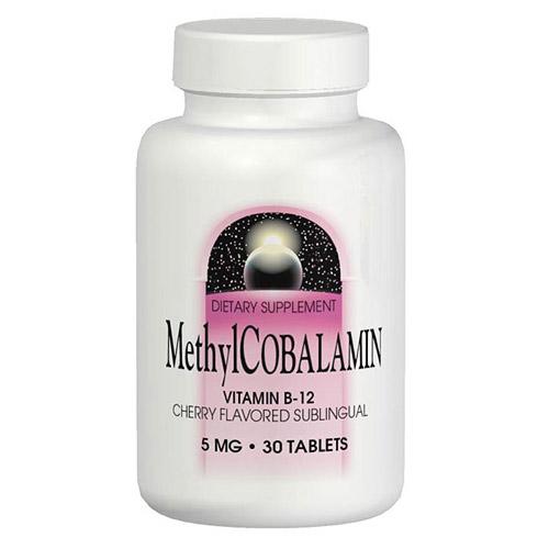 Methylcobalamin Vitamin B12 (Vitamin B-12) Sublingual Cherry 5mg 60 tabs from Source Naturals