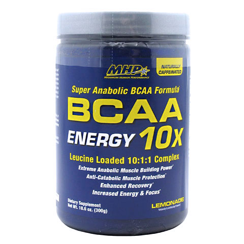 MHP BCAA 10X Energy Drink Mix, Naturally Caffeinated, 30 Servings