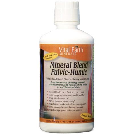 Mineral Blend Fulvic-Humic Liquid, Whole Food Based Mineral, 32 oz, Vital Earth Minerals