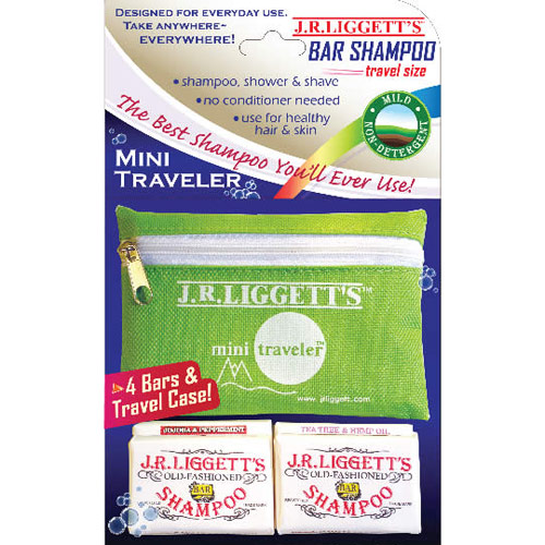 Mini Traveler, 4 Travel Size Shampoo Bars & Travel Case, 1 Kit, J.R. Liggett's