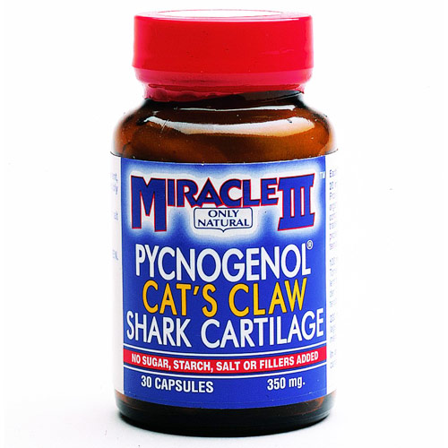 Miracle III (Pycnogenol, Cat's Claw & Shark Cartilage), 30 Capsules, Only Natural Inc.