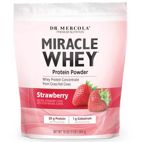 Miracle Whey Protein Powder, Strawberry, 16 oz, Dr. Mercola
