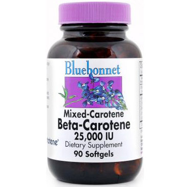 Mixed Carotene Beta-Carotene 25,000 IU, 90 Softgels, Bluebonnet Nutrition
