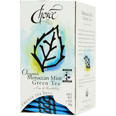 Organic Moroccan Mint Green Tea, 20 Tea Bags, Choice Organic Teas