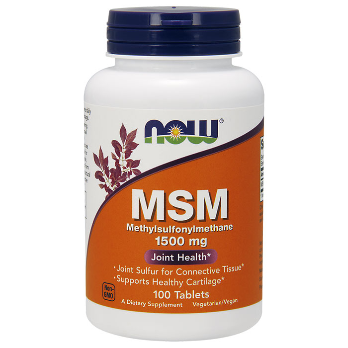 MSM (Methylsulphonylmethane) 1500mg 100 Tabs, NOW Foods