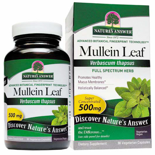 Mullein Leaf 500 mg, 90 Vegetarian Capsules, Natures Answer