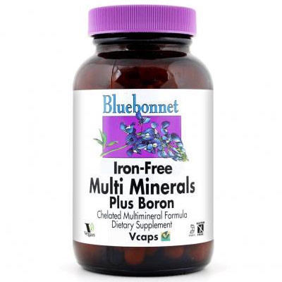 Multi Minerals Plus Boron, Iron Free, 90 Vcaps, Bluebonnet Nutrition