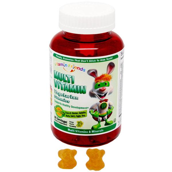 Multi Vitamin Grape Pectin Gummies for Children, 90 Vegetarian Gummies, Vitamin Friends