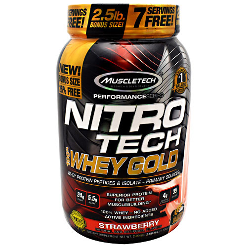 MuscleTech Nitro Tech 100% Whey Gold, Whey Protein Peptides & Isolate, 2.5 lb