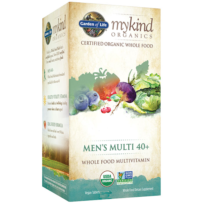 mykind Organics Men's 40+ Multi, Whole Food Multivitamin, 60 Tablets, Garden of Life