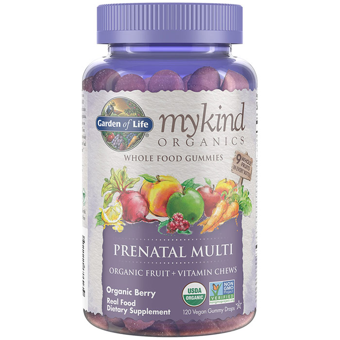mykind Organics Prenatal Multi Organic Fruit + Vitamin Chews, Organic Berry Flavor, 120 Vegan Gummy Drops, Garden of Life