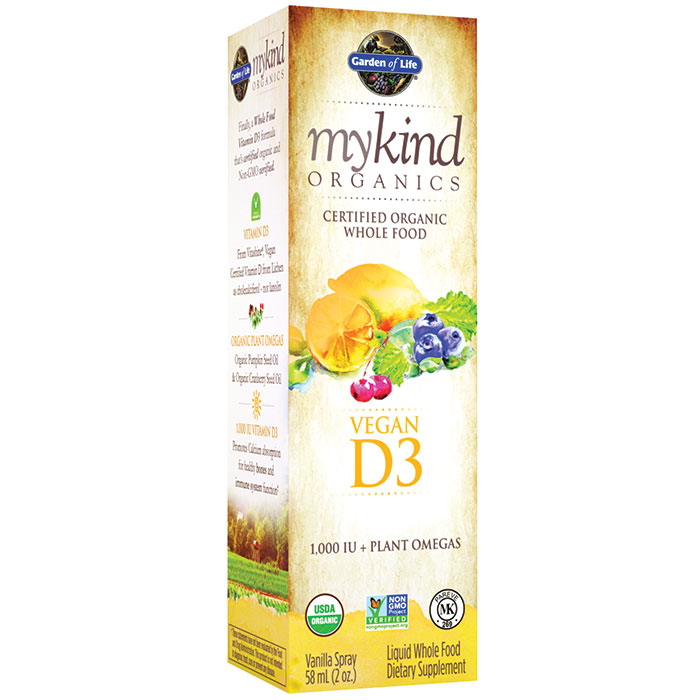 mykind Organics Vegan D3 Spray, Whole Food Vitamin Liquid, 2 oz, Garden of Life