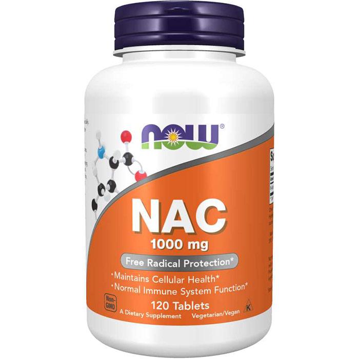 NAC 1000 mg (N-Acetyl Cysteine), 120 Tablets, NOW Foods
