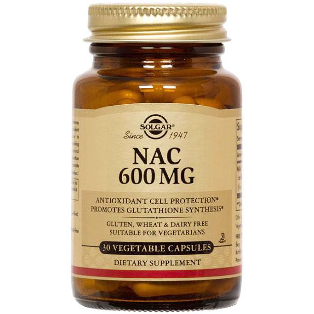 NAC 600 mg (N-Acetyl-L-Cysteine), 30 Vegetable Capsules, Solgar