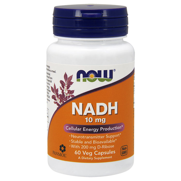 NADH 10 mg Plus Ribose 200 mg, 60 Vcaps, NOW Foods