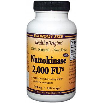 Nattokinase 2,000 FUs, 100 mg, 180 Vcaps, Healthy Origins