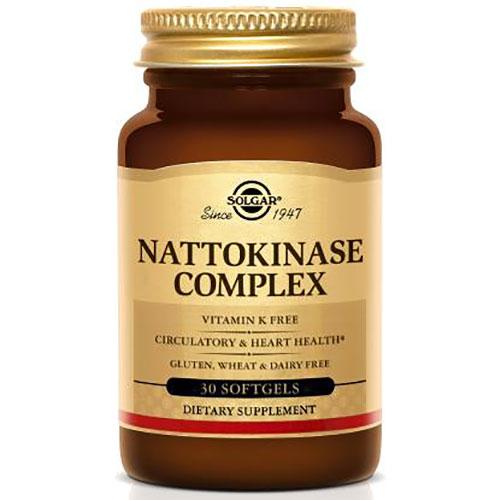Nattokinase Complex (Vitamin K Free), 30 Softgels, Solgar