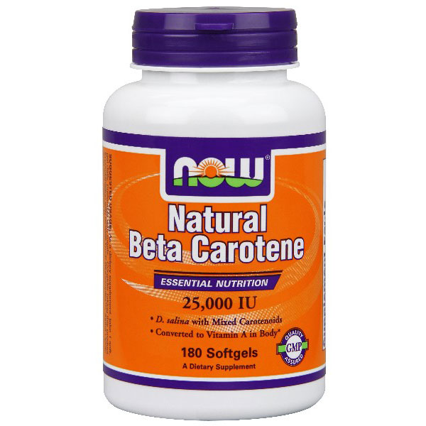 Natural Beta Carotene 25,000 IU 180 Softgels, NOW Foods